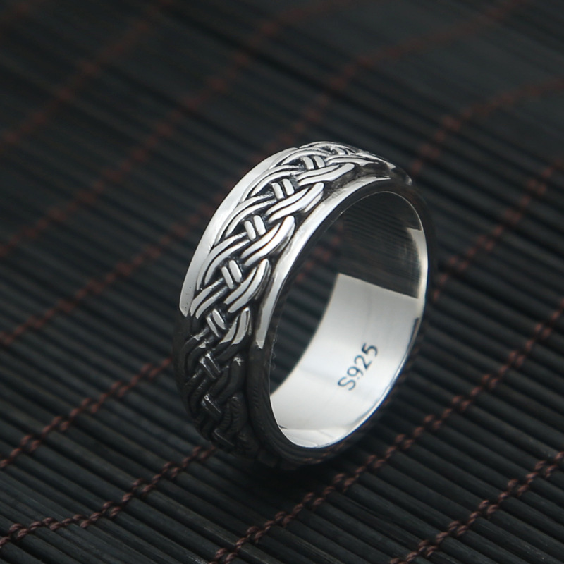 S925 silver jewelry fashion retro silver rope ring rotating Silver Ring simple men's index floral personality rotating silver index finger ring s925 silver turning ring