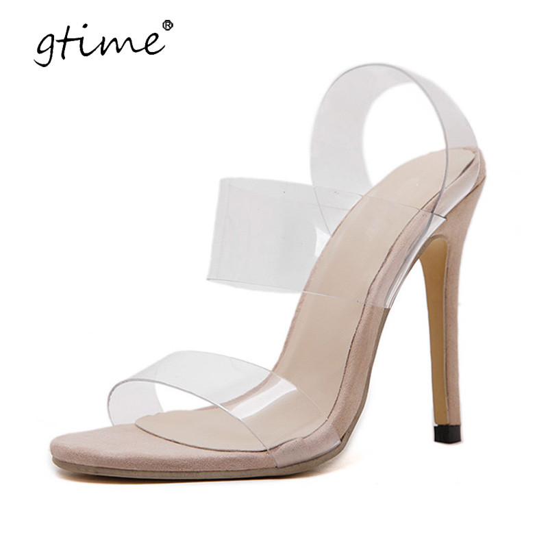 gtime 2017 summer transparent high heels sandals zapatos mujer sapato feminino strappy wedding clear strap sandals shoes zws208