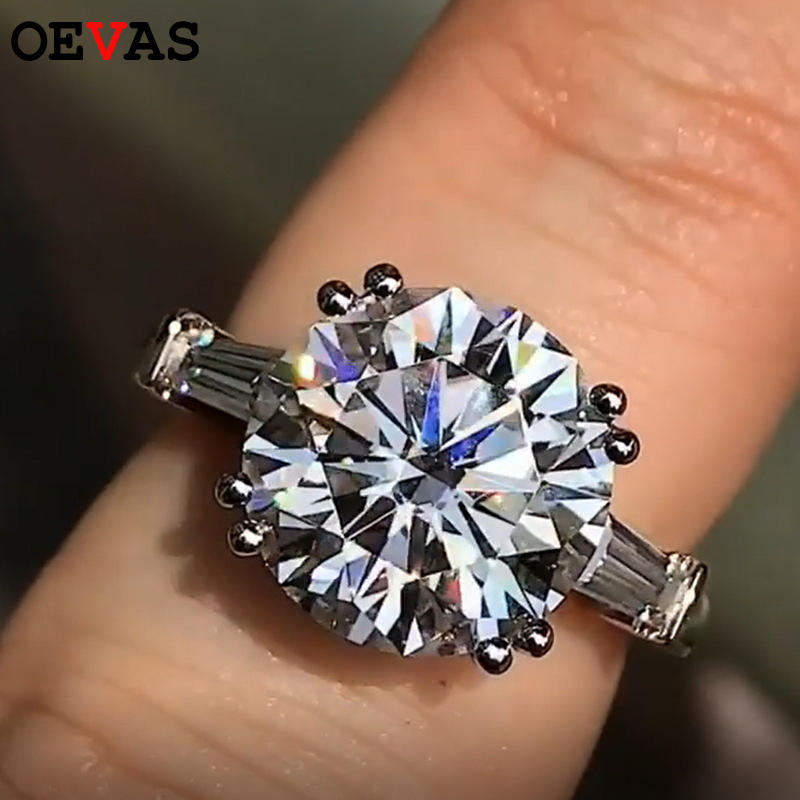 OEVAS Luxury Engagement Wedding Ring for women Big Round AAA CZ Jewelry female No fading Anniversary gift rings bijouterie