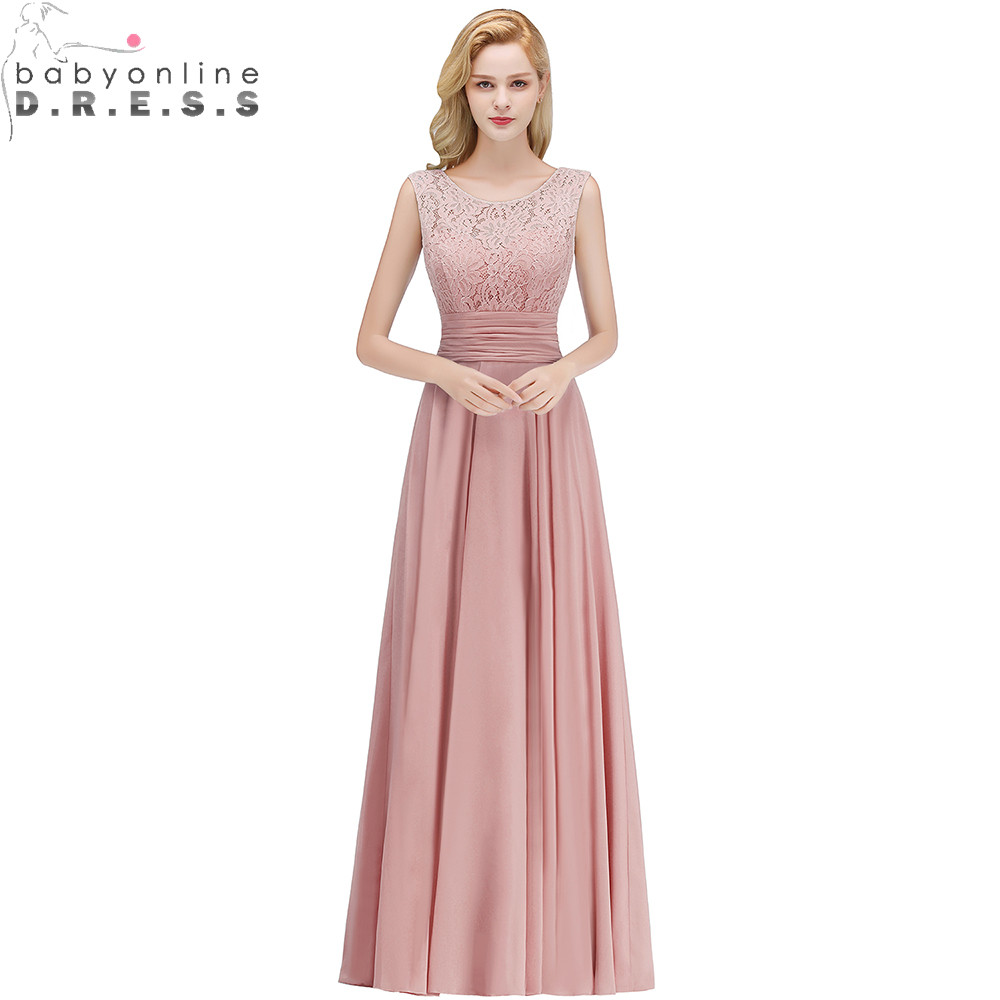 2019 Elegant Full Lace   Bridesmaid     Dresses   Pleat Back V-Neck Sleeveless Chiffon Wedding Party   Dresses   Long Prom Gown   Dresses
