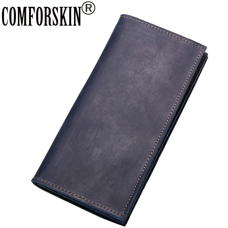 COMFORSKIN High Quality Genuine Leather Men Wallets 2018 Brand Vintage Long Real Leather Male Coin Purses Clutch Wallet For Men banlosen brand men wallets double zipper vintage genuine leather clutch wallets male purses large capacity men s wallet