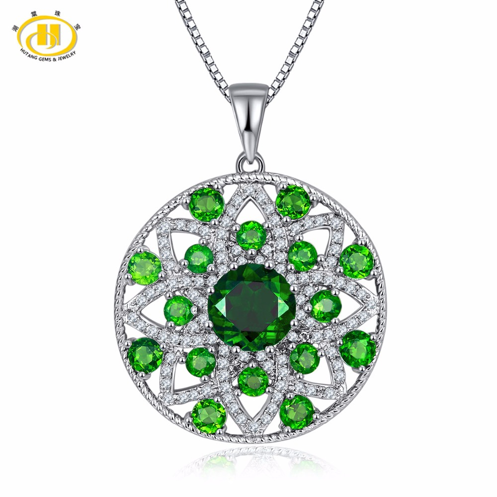 Hutang Solid 925 Sterling Silver 5.46ct Natural Gemstone Chrome Diopside & Topaz Flower Pendant Necklace Fine Jewelry For Women