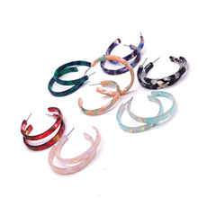 Fashion Simple and Colorful Retro Earrings C-shaped Resin Acrylic Sweet Wind Korean Jewelry Charm Accessories