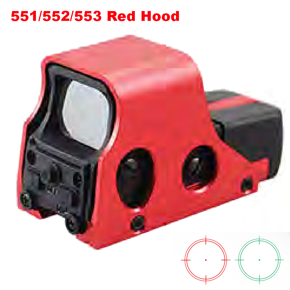 New Aluminum Tactical Red Green Reticle Riflescope Holographic Red Green Dot Sight Brigthness Adjustable 551 552 553 Red Hood.