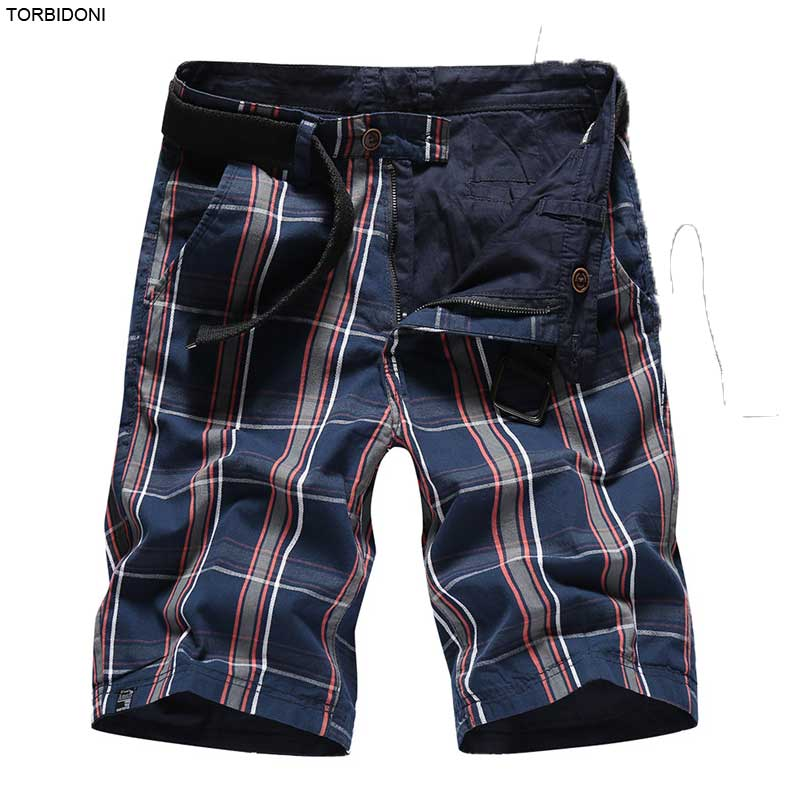 Reversible Men Plaid Cargo Shorts Brand Clothes Active Workout Jogger Fitness Men Beach Board Short Bermuda Masculina Breathable