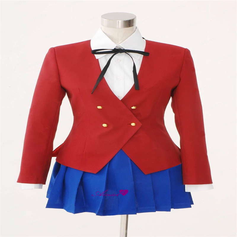 Cosplay Japanese Anime TIGER DRAGON Toradora Aisaka Taiga Costume School Girls Uniform Include Blazer+Blouse+Skirt+Tie   N20284