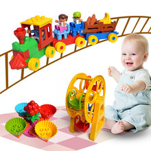 Duploe Поезд парк большое здание блоки колесо обозрения слайд собрать кирпич игрушечные лошадки Brinquedos Совместимость с legoingly треин для ребенка
