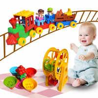 Duploe train parc grands blocs de construction grande roue glisser assembler briques jouets Brinquedos Compatible dulpoed trein pour bébé