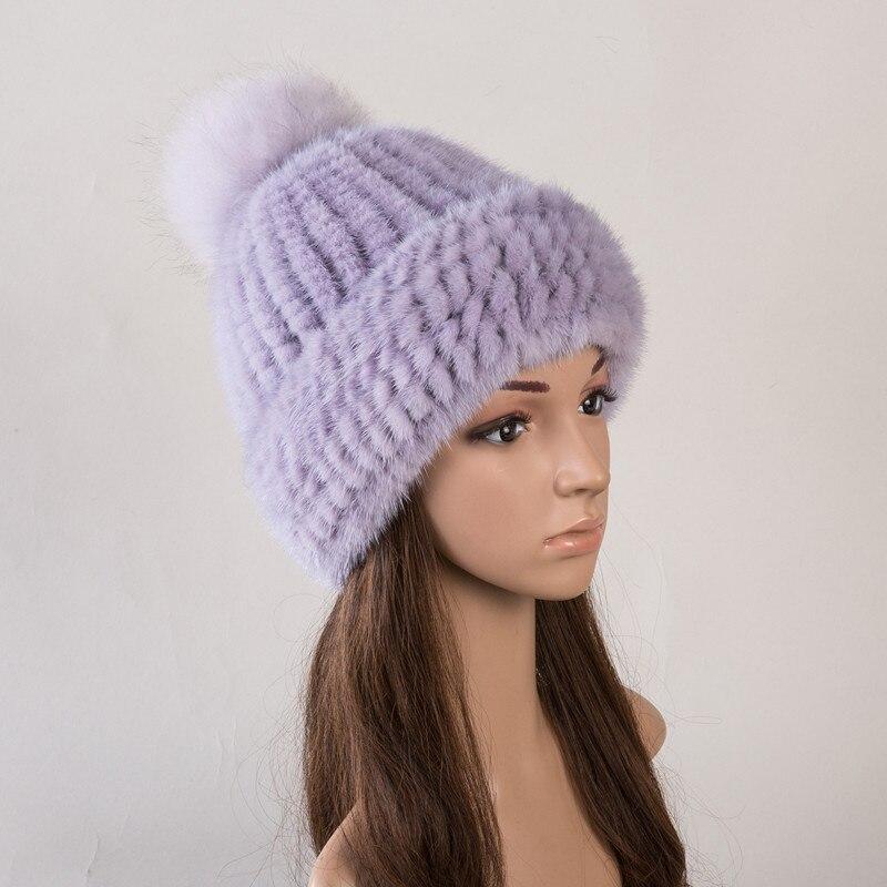 Réel fourrure chapeau de vison naturel fourrure casquettes pour femmes automne 6 couleurs nouveau style fourrure bonnets russe hiver chaud fourrure chapeaux H142 - 4