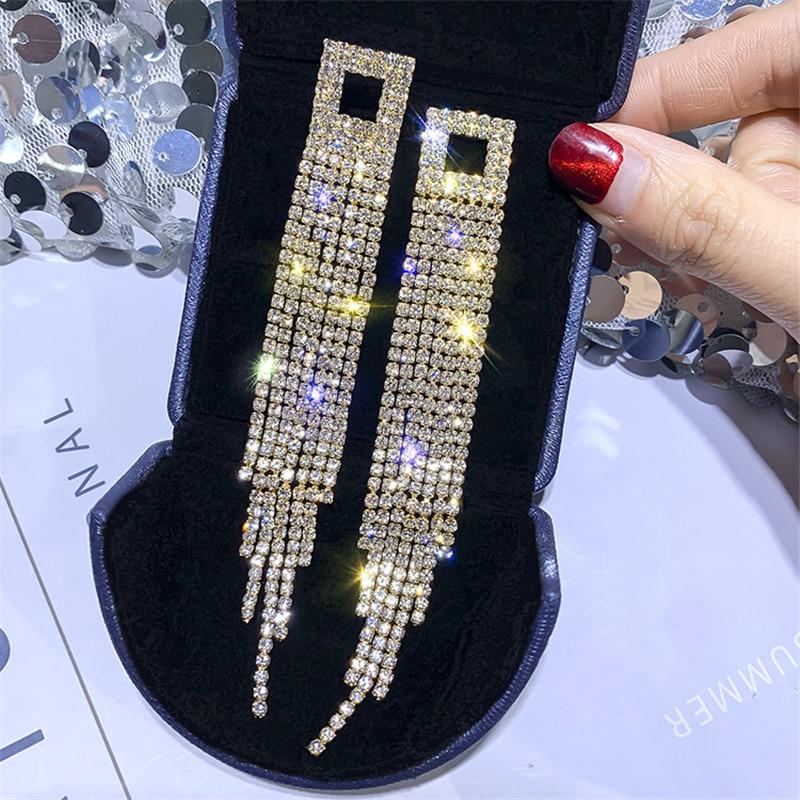 FYUAN Shiny Full Rhinestone Drop Earrings for Women Square Long Tassel Crystal Dangle Earring Weddings Fashion Jewelry Gifts