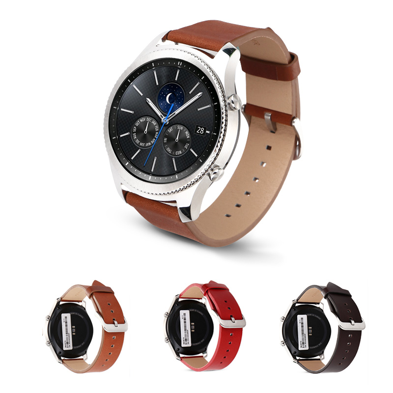 URVOI band for Samsung Gear S3 R760 R770 clasic strap simple black genuine leather band with