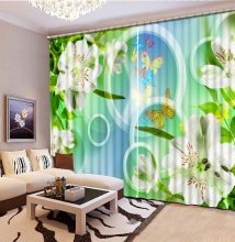 photo curtains 3d window Circle flower Living room bedroom decoration window curtain bed room lace 3D curtains(China)