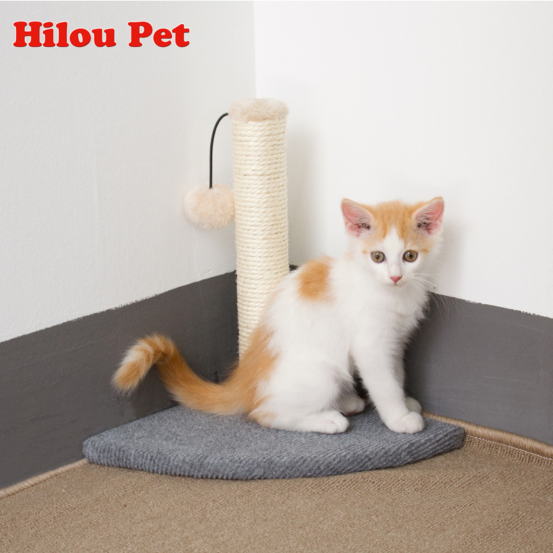 Natural Sisal Wall Corner Cat Tree Climbing Toys Scratcher Post Climbing Claws Pet Furniture For Small Cat Kitty