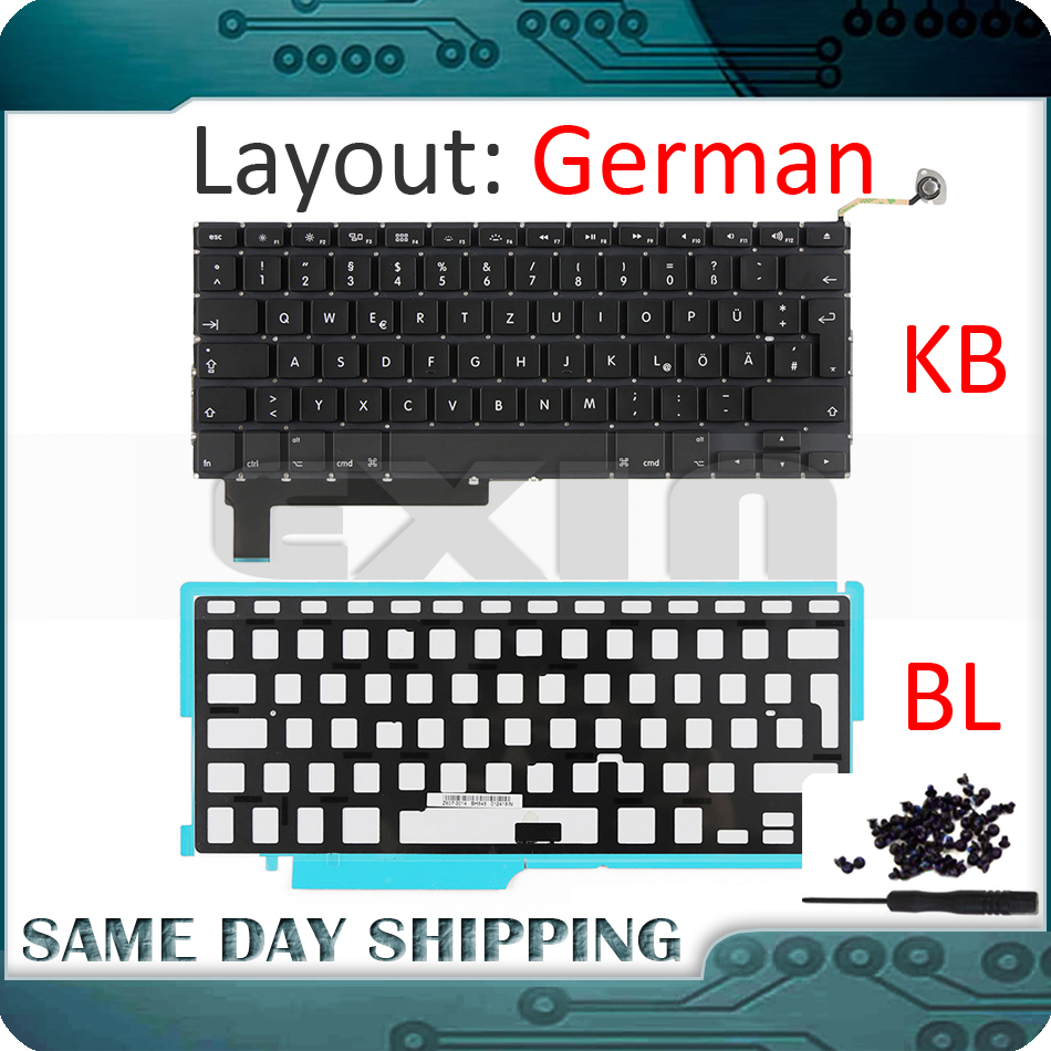 NEW For Apple Macbook Pro 15'' A1286 German Germany Deutsch QWERTZ Keyboard+Backlight Backlit+Screws 2009 2010 2011 2012 Year
