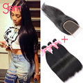 3 Bundles With 4x4 Lace Closure Straight Peruvian Virgin Hair With Closure Grace Hair Products Remy Human Hair With Closure 1b