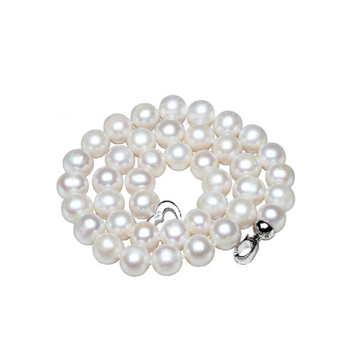 YYW 9-10mm Big Natural Pearl Necklace Pearl beads White Necklace Special offer Super Mothers Gift Wedding Jewelry