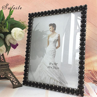 SUFEILE Retro Nostalg Creative Pearl White Resin Picture Frame HD Glass 8 Inch Photo Picture Frame