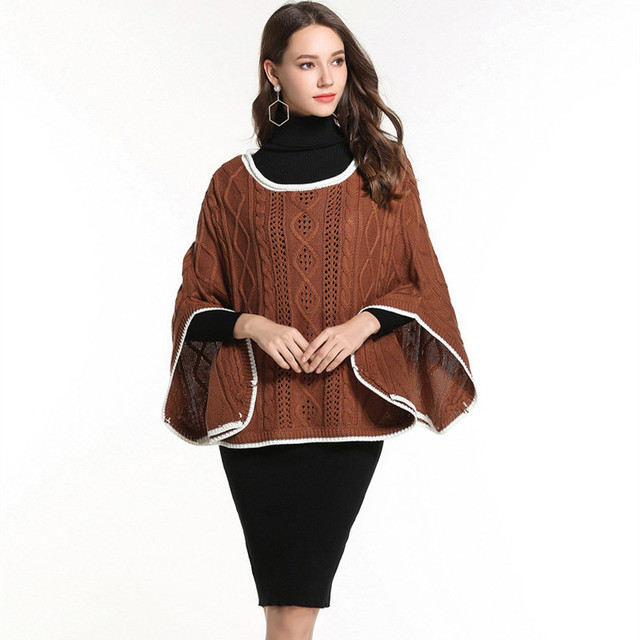 92939d10ec women s oversized pullover sweaters plus size cloak fall clothing cable  knit sweater ladies pullovers casual poncho