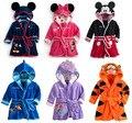 2017 New Children's Bathrobes for Girls and Boys Soft Comfortable Flannel Cute Cartoon Kids Bath Robe Hooded Sleep Wear