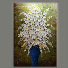 Hand Painted Palette Knife White Flowers Oil Painting Wall Art Canvas Picture Modern Abstract Home Decor Living Room Bedroom