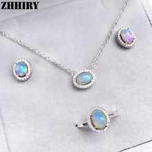 Natural opal Women jewelry set Ring necklace pendant earrings 925 sterling silver platinum plated or rose gold plated kjjeaxcmy fine jewelry 925 sterling silver plated white gold ring pendant deep amethyst necklace set ladies two piece suit