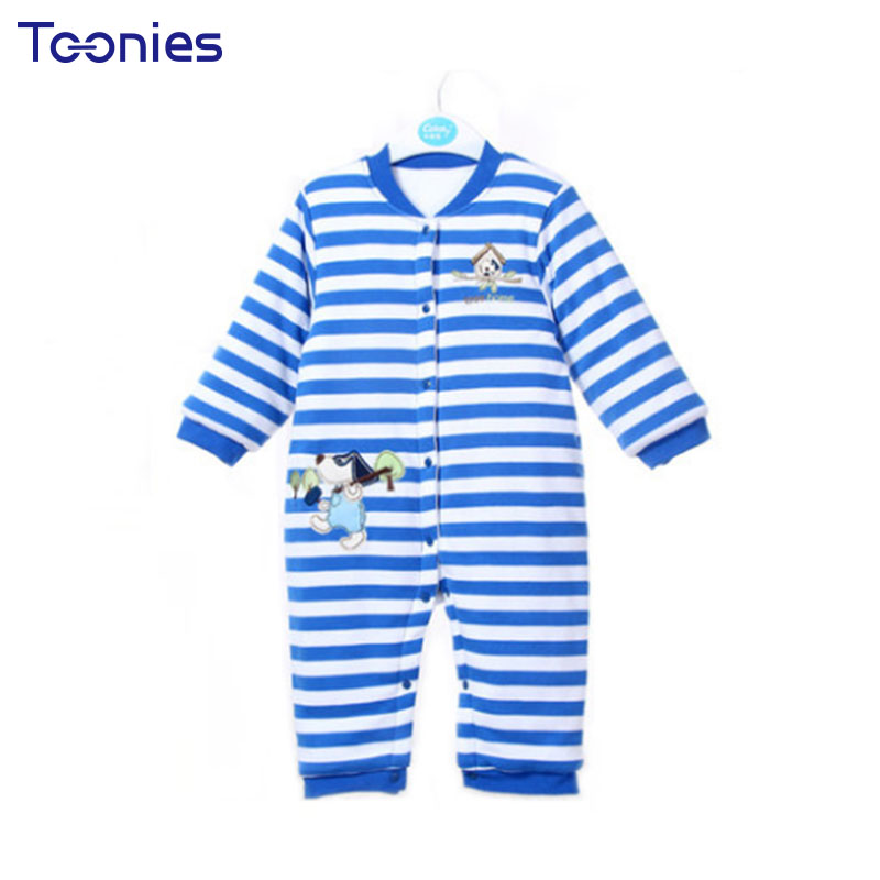 Child Rompers Winter Newborn Baby Clothes 2018 Thick Infant Romper Stripe Cartoon Unisex Jumpsuit Cute Climb Costume Kid Pajamas 2017 new baby winter romper cotton padded thick newborn baby girl warm jumpsuit autumn fashion baby s wear kid climb clothes