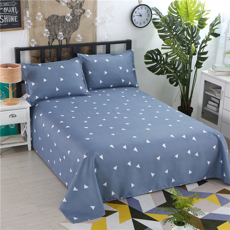 1pcs Polyester Four Seasons Flat Bedsheet Blue Night Sky Printed Bedding Fitted Sheet Mattress Cover Bed