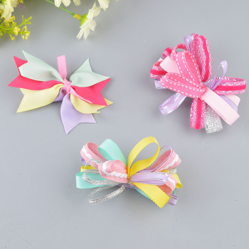 2018 European popular Colorful Big Bow children accessories bow hair hairpin infant baby girls cute barrette clips a6 popular in europe and america children wear hair knotted cotton big bow tie children hair baby hair headband