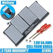 Bateria weihang a1496 da coréia, célula de bateria para apple macbook air 13 a1369 mid 2011 & a1466 2012 a1405