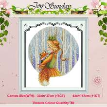 Forest princess girl fox counted 11CT 14CT Cross Stitch Set DIY DMC Chinese Cross-stitch Kit Embroidery Needlework Home Decor(China)