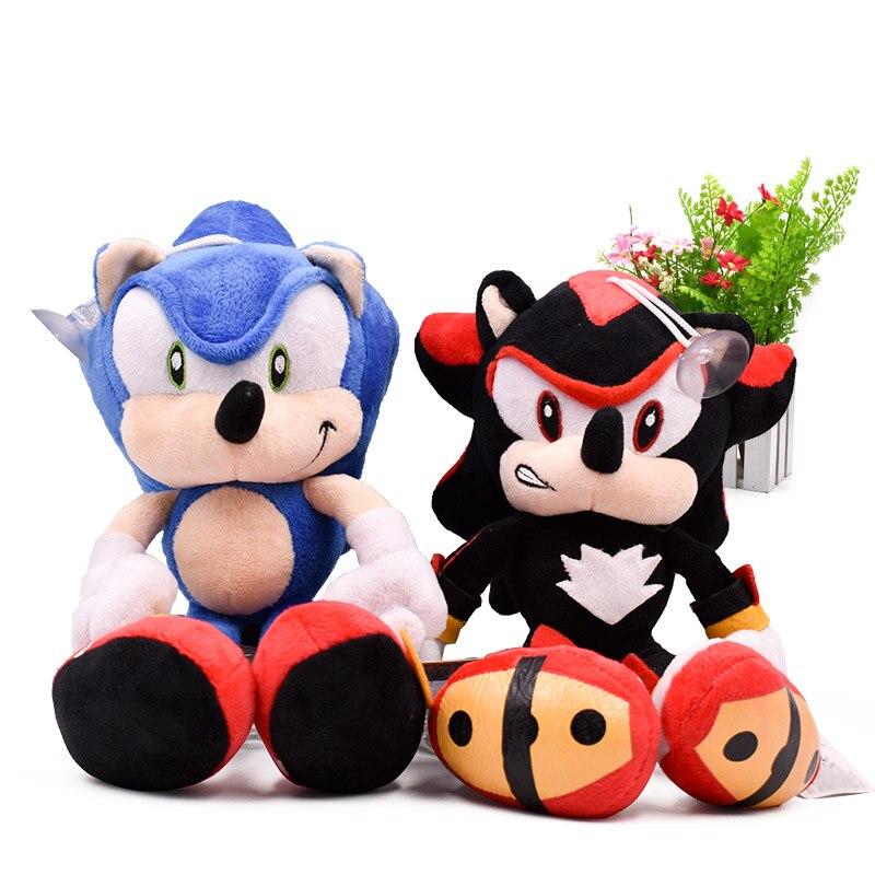 2 estilos sonic macio boneca de pelúcia preto & azul sonic animal dos desenhos animados pelúcia brinquedos figura bonecas presente de natal 30 cm