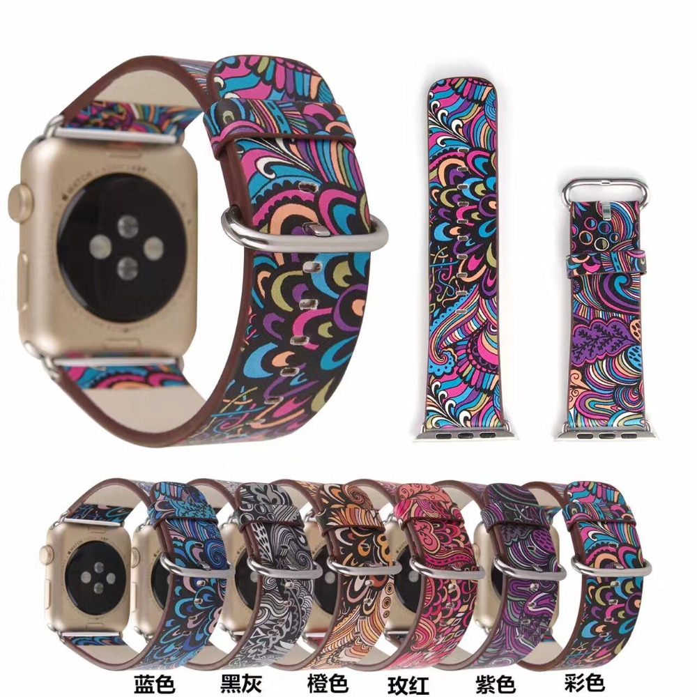 Leather Strap for Apple Watch band 38mm/42mm 40mm 44mm Series 1/2/3/4 Flower Prints Vintage Floral National Folk Style