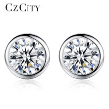 CZCITY Hot Sell Single Round CZ Stone Stering Silver Earrings for Women Classic Cubic Zirconia 925 Silver Ear Stud Party Jewelry