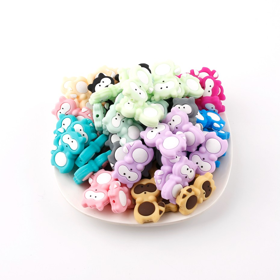 Bite Bites Colorful Beads 3PC Silicone Raccoon Shaped Cute Animal DIY Long Necklace For  ...