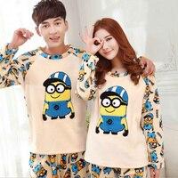 Thickened Pyjamas Women Adult Minion Kigurumi Pajamas For Women Men Femme Flannel Winter Couple Pajama Sets