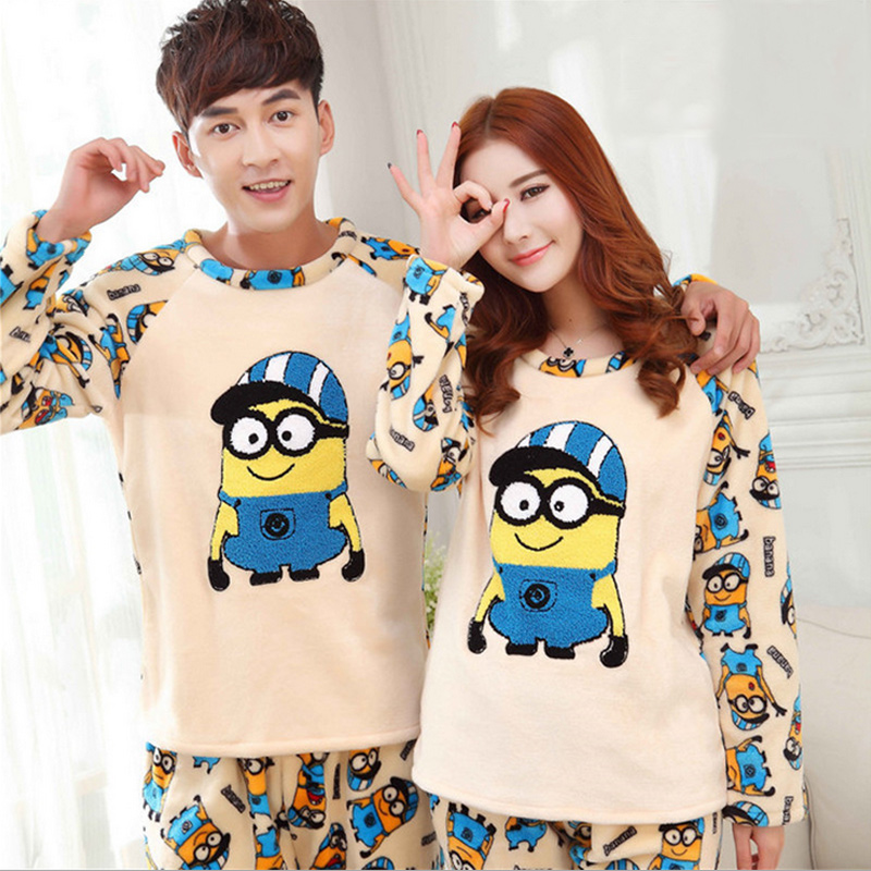thickened pyjamas women adult minion pajamas for women men female flannel winter couple pajama. Black Bedroom Furniture Sets. Home Design Ideas