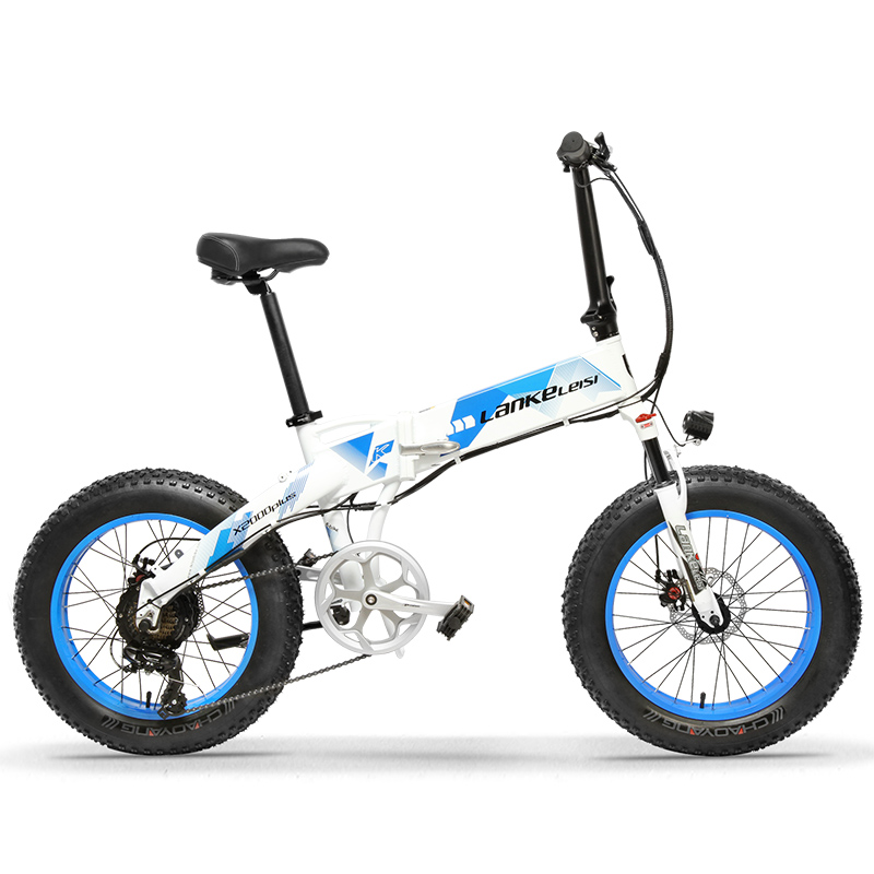 X2000 20 × 4.0 Inch Big Tire 48V 1000W 12.8AH 7 Speed Fat Tire Aluminum Alloy Frame Electric Bike Foldable for Beach/Snow E-Bike