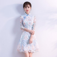 New Women Sexy Mini Slim Qipao Elegant Chinese Style Bridesmaid Wedding Party Dress Lady Flower Oriental Cheongsam Vestidos