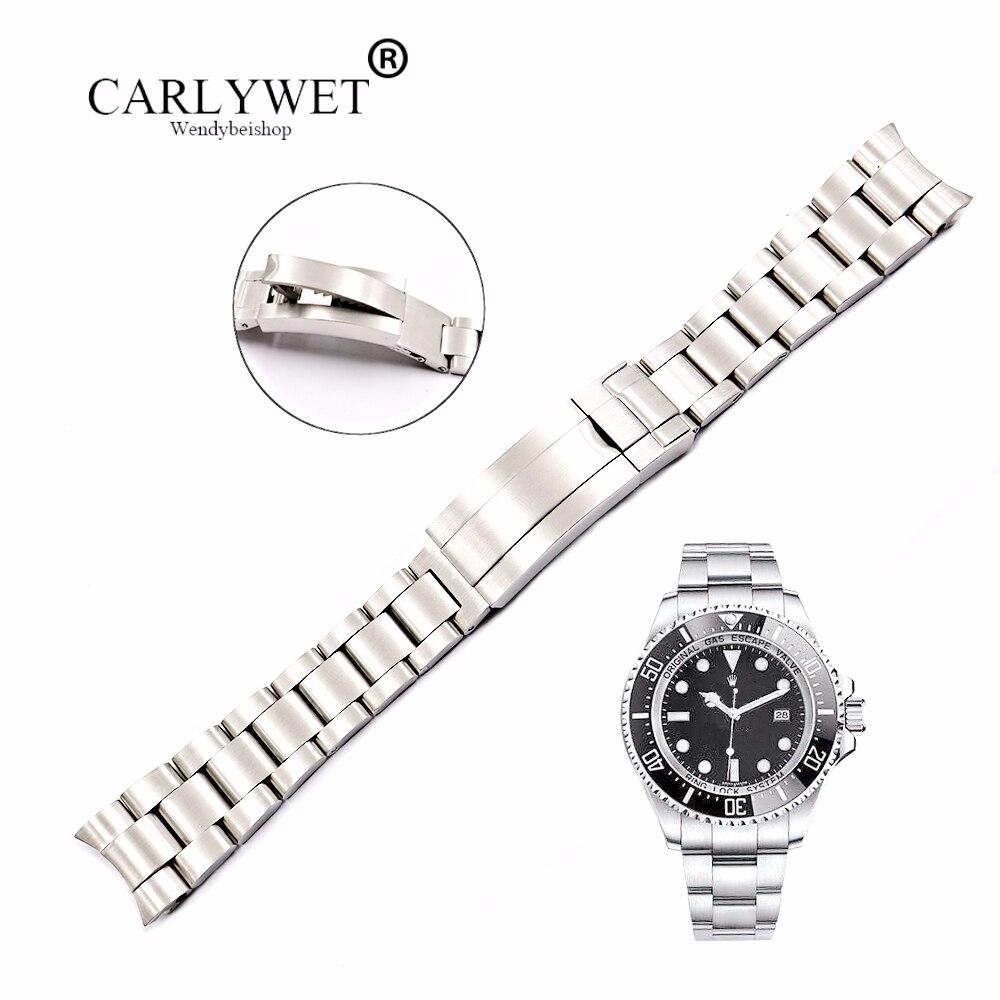 CARLYWET мм 20 21 мм твердые загнутым концом нержавеющая сталь винт ссылки наручные часы браслет Glide Флип замок застежка для Oyster Deepsea