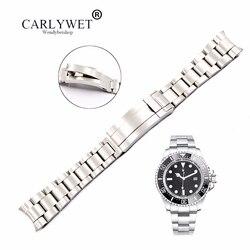 CARLYWET 20 21mm Feste Curved End Edelstahl Schraube Links Armbanduhr Band Armband Glide Flip-Lock Verschluss Für oyster Deepsea