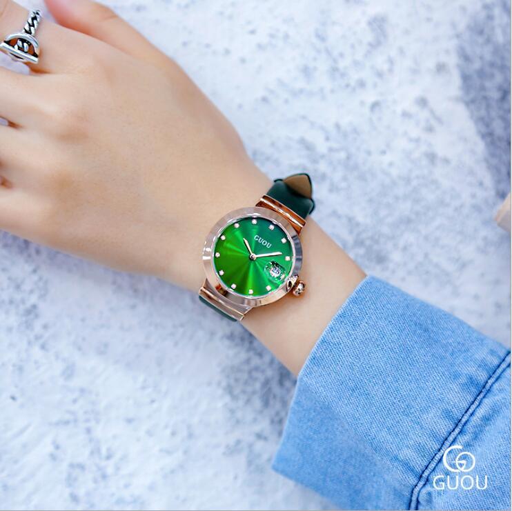 fe2caf82aa89 GUOU relojes moda mujer verde clásico relojes Auto fecha reloj de cuero de  las señoras relojes para mujer reloj femenino envíos gratuitos en todo el  mundo