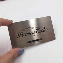 100 pieces / lot Custom brushed Stainless Steel Metal Business Card silk printing one color modern style brushed stainless steel law office signs custom made available
