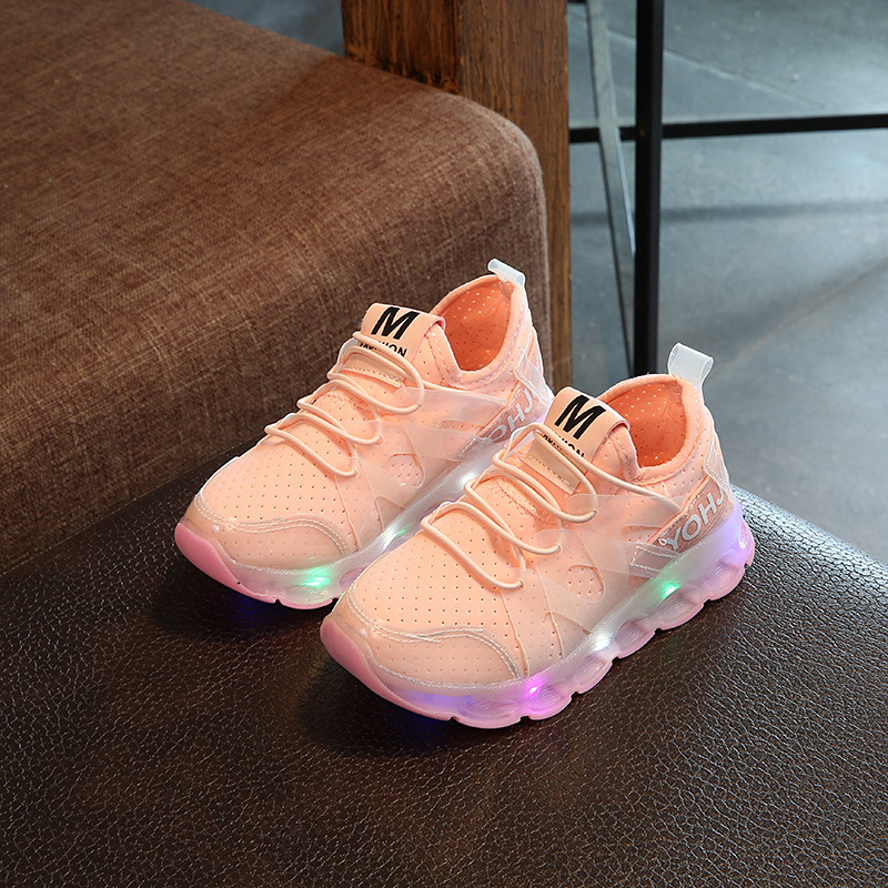 Fashion Cool Net Children Sneakers LED Lighting Casual Children Casual Shoes Slip  Glowing Kids Baby Girls Boys Shoes Eur 22-37 25 40 size usb charging basket led children shoes with light up kids casual boys