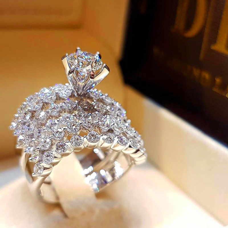 คริสตัลหญิง Big Stone ชุดแหวนแฟชั่น Queen 925 เงินชุดแต่งงานแหวนสัญญารักหมั้นแหวน