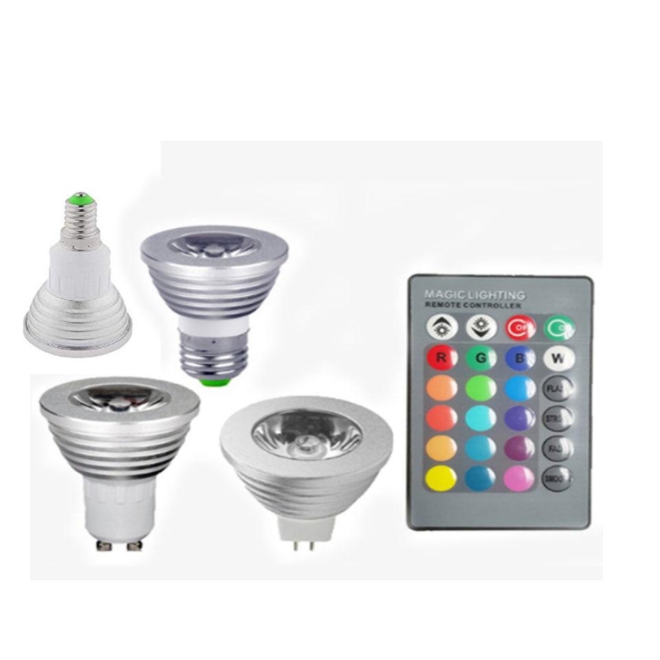 GU10 Светодиодная лампа E27 E14 110 В 220 В RGB прожектор лампада MR16 12 В Светодиодная лампа Рождество Bombillas с 24 клавишами дистанционного 16 видов цветов изменения|Светодиодные лампы и трубки|   | АлиЭкспресс