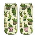 Niñas Calcetines de Corte Bajo Calcetines Harajuku Cactus Imprimir Calcetines 3d Digital Print Mujer Hombre Divertido de Color Verde Para El Tobillo Calcetines