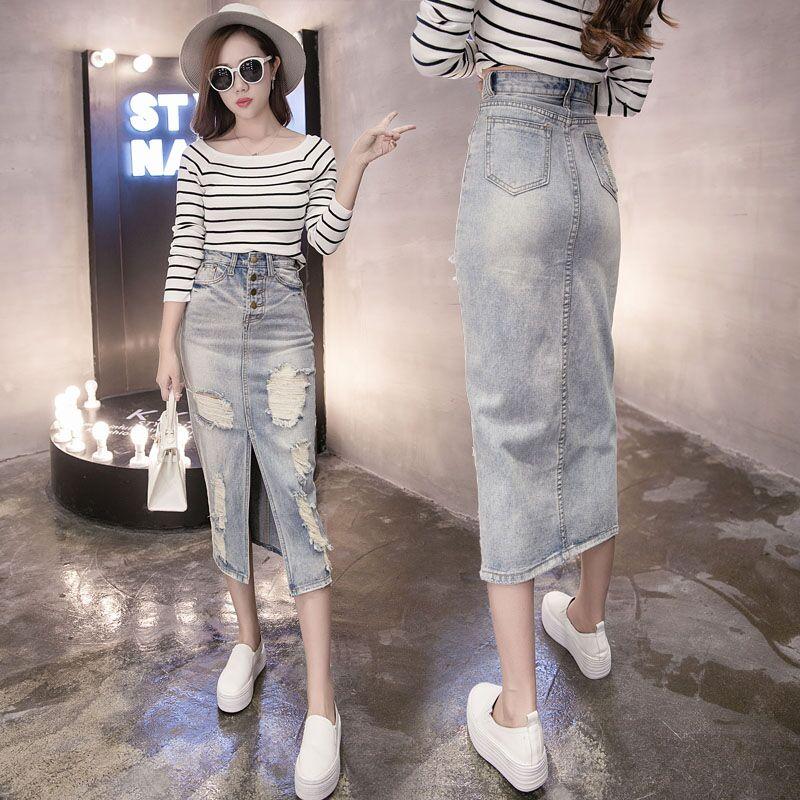 Pavasariniai mados džinsiniai sijonai su aukštu juosmeniu - Moteriški drabužiai
