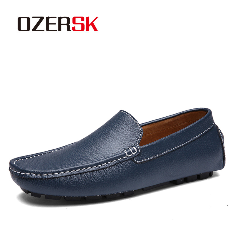 OZERSK Fashion Men Genuine Leather Loafers Slip On Luxury Man Flats Casual Shoes Spring Autumn Non-slip Male Driving White Shoes