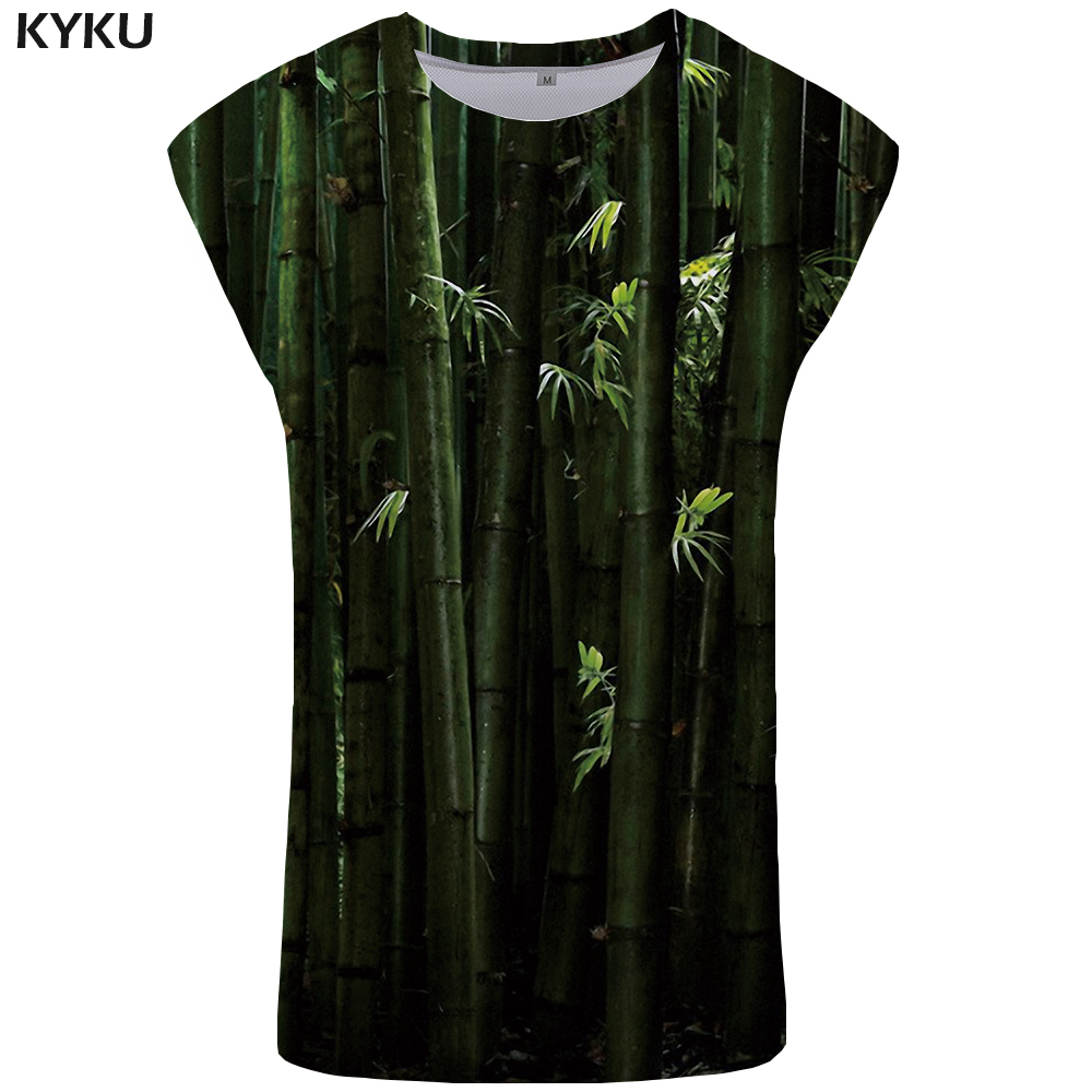 KYKU Bamboo Forest   Tank     Top   Men Chinese Style Ftness Clothing Green Vest Singlet Mens Bodybuilding Undershirt