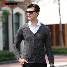 2017 Autumn Winter Men Clothing Fashion Solid Color V-Neck Long Sleeve Mens Cardigan Warm Thick Wool Slim Fit Mens Sweater Top